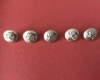 14mm 'Skull' Pewter Button (5 Pack) - Re-Enactment, Living History