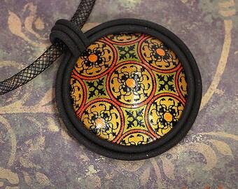 Hand Colored Silkcreen Pendant