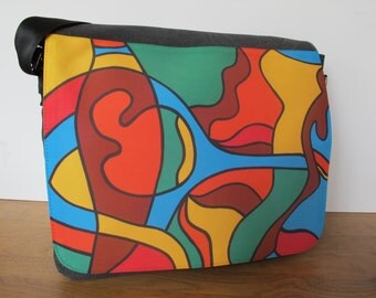 Modern, multifunctional laptop / shoulder bag with prints of own paintings - Space fish