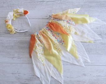 Yellow Orange Fairy Skirt Flower Crown Gypsy Skirt Faerie Skirt Girls Birthday Outfit Shabby Chic Photo Prop Outfit Fairy Tutu Party Costume