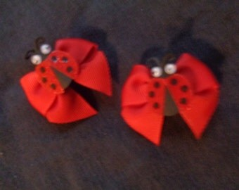 Girls Hair Bow Red Lady Bug