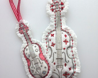 Violin embroidery pattern. Gift for musician, hand drawn.