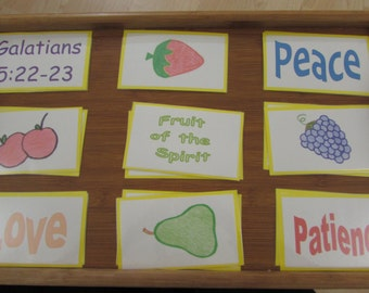 Fruit of the Spirit Bible Matching Memory Game for home or Sunday School/RE class use
