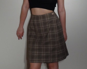 SALE Plaid Vintage Wrap Around Skirt