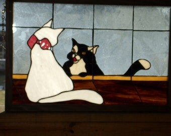 Stained Glass Peek-a-Boo Cats