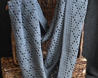 Diamond Pattern Infinity Scarf - Charcoal - Cotton Blend