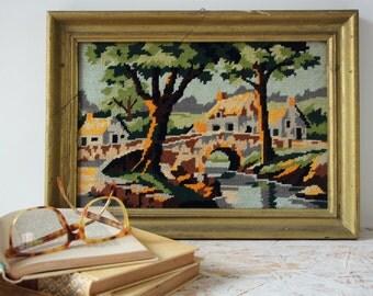 CANVAS vintage - tapestry 1970 frame gilded wood