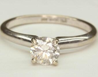 Unbeatable Deal! New Price! Diamond Solitaire Engagement Ring 14K WG Round Diamond 3/4 Carat Magic Glo