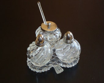 Vintage Glass Cruet Set with Spoon and Tray