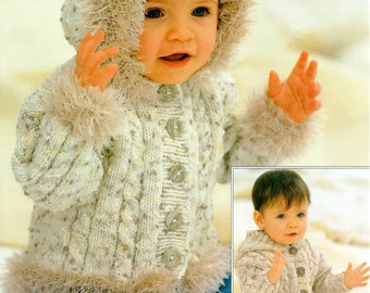 PDF Knitting Pattern for 2 Trendy Designs of Cunky Cabled Jackets to fit Chest sizes 18 to 28 Inches
