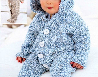 PDF Knitting Pattern for a Chunky Knit Baby & Toddlers Onsie or Hooded All-In-One Suit  - Instant Download