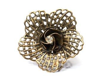 Ring | large flower ring | statement ring | boho metal | ethno ring | hippie