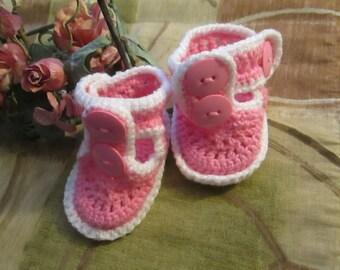 Pink Crochet baby booties -Sandles ballerina