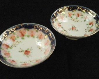 Pair of 2 Vintage finger bowls antiques wedding shower decoration victorian blue pink flowers hand painted
