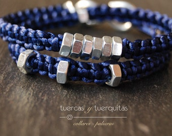 nuts and tuerquitas bracelets blue evening