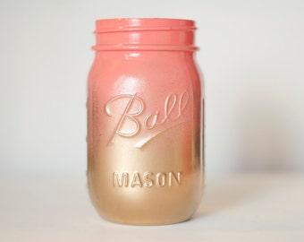 Coral and Gold Ombre Mason Jars - Wedding Mason Jars - Coral and Gold Vase - Wedding Decor - Wedding Gift - Baby Shower Mason Jars