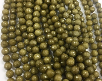 12mm Green Dyed Jade Faceted, 12mm Olive Green Dyed Jade, 12mm Green Jade Beads, Green Jade Beads, 12mm Green Beads, 12mm Green Faceted Bead