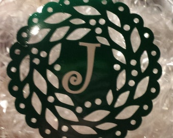 Personalized Glass Christmas Ornament with Wreath Design
