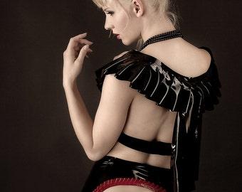 LaTeX skirt with ruffle neckline