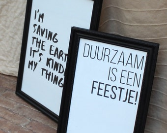 Sustainable poster A3 or A4 (4 variants) on rest houtpapier. Scandinavian design and sustainable quote