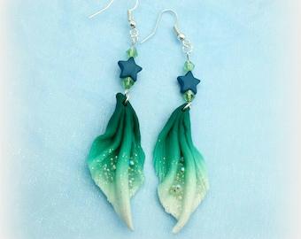 """Orecchini """"coda di sirena"""" verdi"""