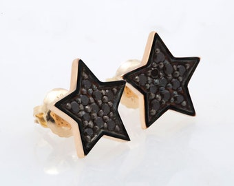 Black Diamond Star Screw Back Earring