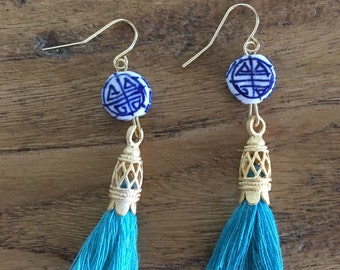 SALE | Chinoiserie Tassel Earrings - TURQUOISE, AQUA, blue and white, Royal Blue, porcelain, Asian, delft, navy and white, gold