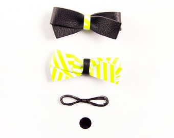 Adult Leather Hair Bow Crocodile Clip or Nylon Headband, Neon Yellow Geometric Pattern & Black Bow, Baby Bow, Adult Bow, Spring/Summer Bow