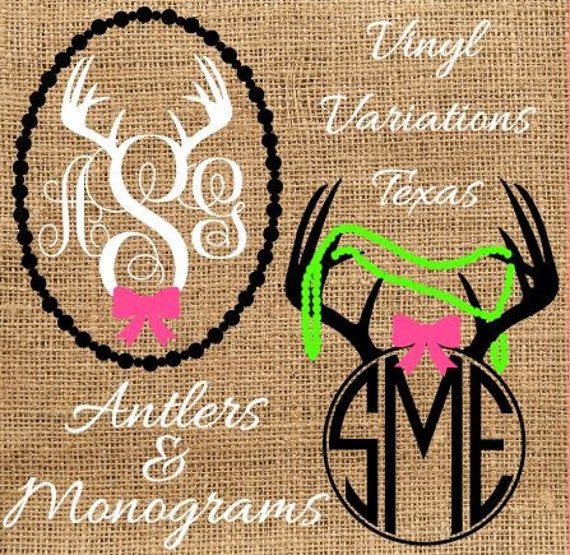 Deer Antler Bow Monogram Custom Vinyl Decal Car Window Sticker - Monogrammed custom vinyl decals for car