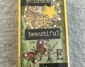 Embrace Beautiful Chaos Collage Resin Pendant