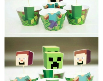 Miner Inspired Cupcake Wrappers and Toppers - Pack of 12 Steve and Creeper mixed pack