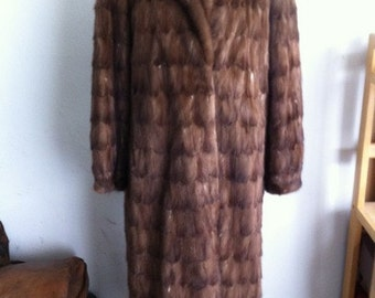 Lady's light brown real mink fur coat of pieces, Size L
