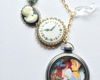 Before the clock strikes midnight Cinderella shadow box necklace
