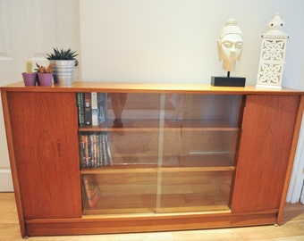 School Teak Cabinet with Adjustable Shelves & Sliding Glass Doors - 1960's (shipping not included)