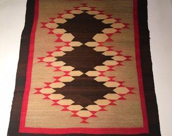 Antique Navajo Diamond Pattern Rug - 2′11″ × 3′7″