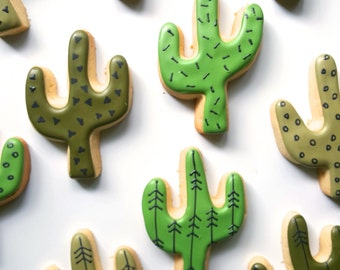 Patterned Cactus Cookies