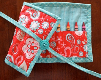 Red Floral Crayon Roll, Turquoise Crayon Tote, Girl Crayon Roll Up, Red Blue White, Twice as Nice, Crayon Holder, Crayon Roll up, Girl