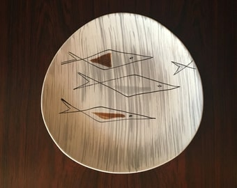 Mid Century Scandi Design Hand Painted Ceramic Plate - Made in France with Makers Mark