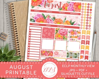 August Monthly Kit, August Monthly Stickers, August Planner Stickers, Printable Monthly Kit, for use with Erin Condren LifePlanner™, MV103