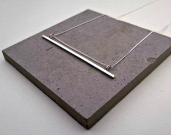 LINE NECKLACE Geometric Sterling Silver Bar