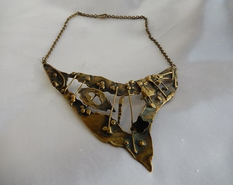 Old Bronze Necklace signed