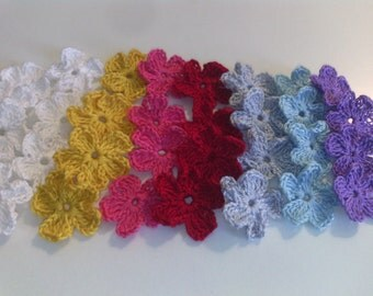 Crochet flower applique 50  pcs