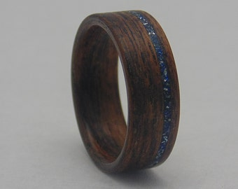 Handcrafted Black Limba Wooden Ring with Blue German Glass Inlay