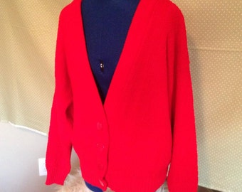 Red Cardigan - Women's Cardigan - Vintage Cardigan - By Brunny - Made in USA