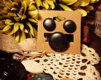 Button Earrings and Ring Set: Black is Back