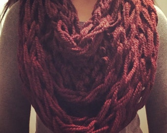 Burgundy thick and chunky infinity scarf