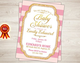Pink and Gold Baby Shower Invitation. Gold Glitter Baby Shower Invitation. Pink white stripes Gold Baby Shower Invitation Printable