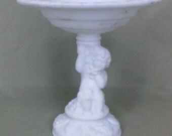 Pressed Satin milk glass Old vintage compute center piece cherub grapes figure