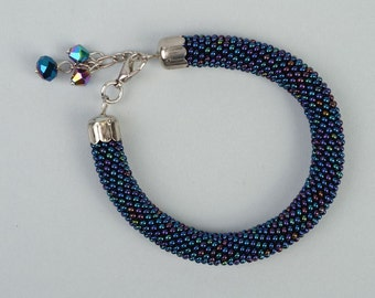 Hand woven beautiful dark blue beaded cord bracelet