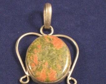 A terrific unakite sterling silver pendant
